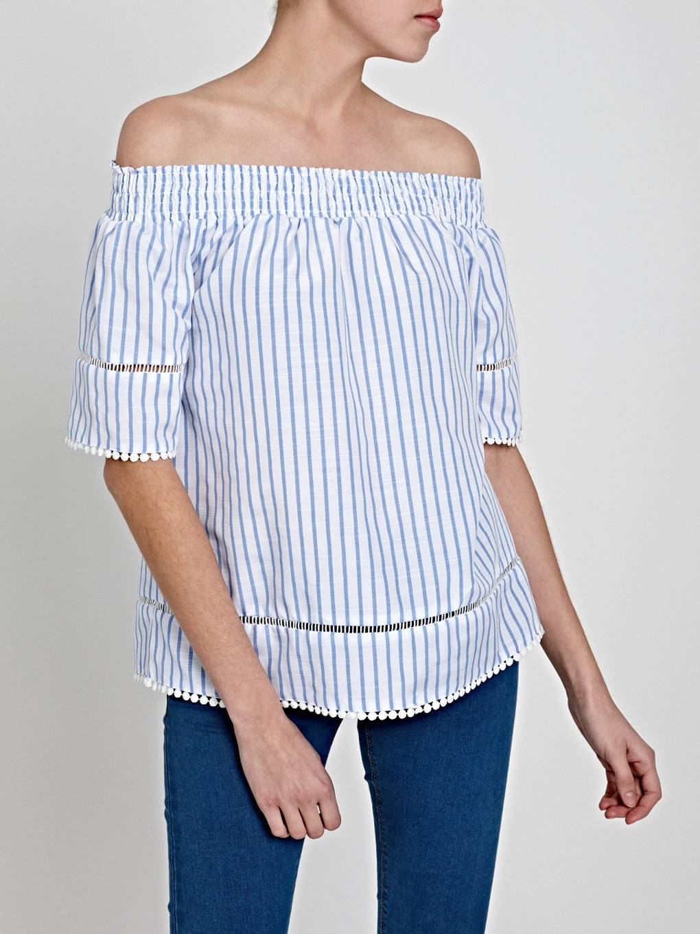 OFF-THE-SHOULDER STRIPED TOP WITH CROCHET DETAILS