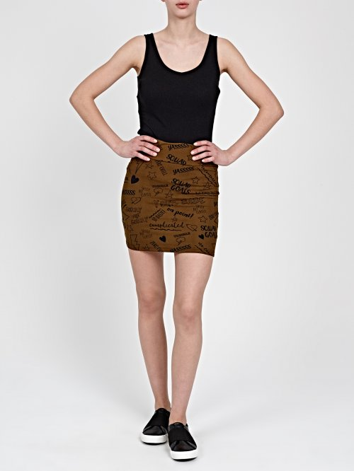 MINI SKIRT WITH MESSAGE PRINTS