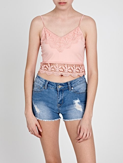 DENIM SHORTS WITH DECORATIVE TAPE
