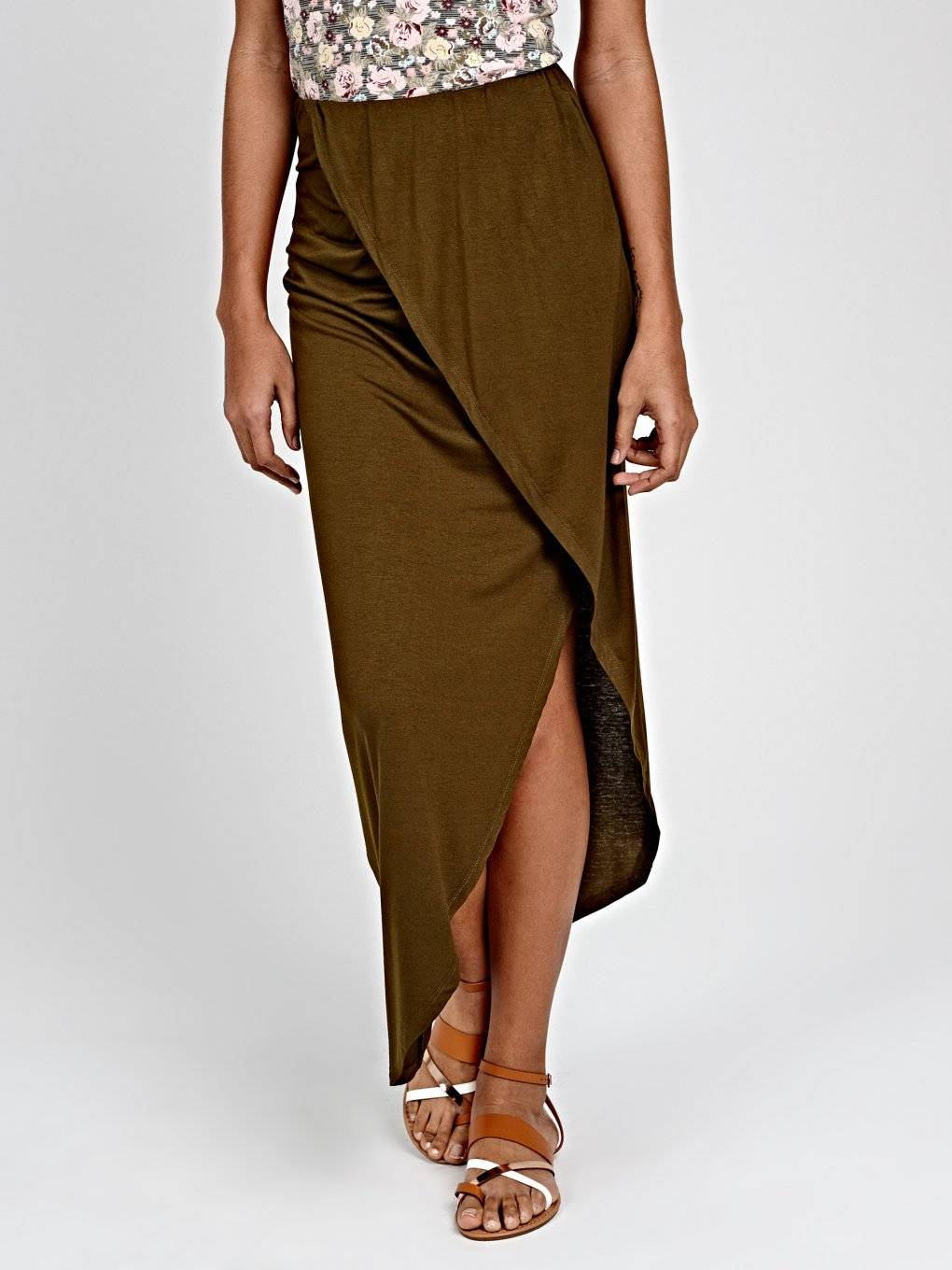 JERSEY WRAP SKIRT WITH ASYMMETRICAL HEM