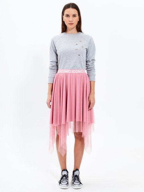 Combined skirt with printed waistband