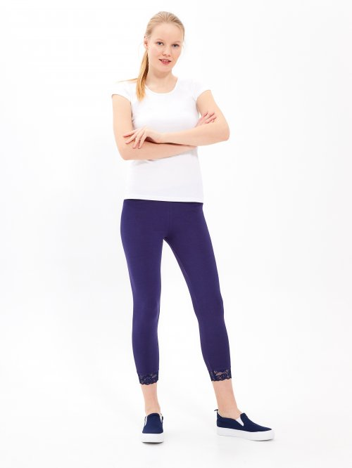 3/4-leg leggings with lace