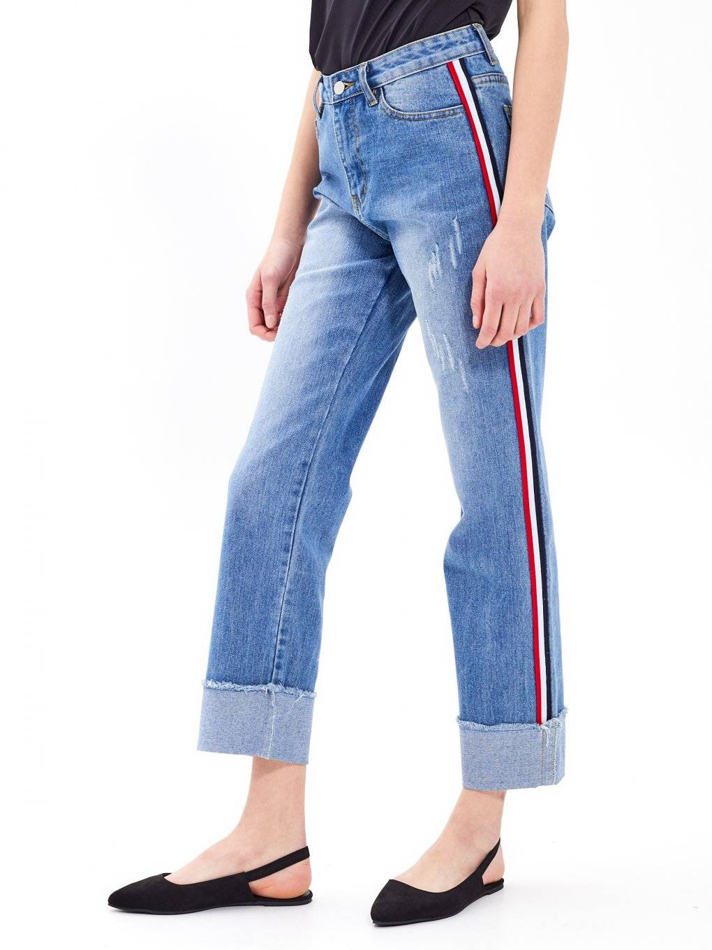 Straight fit taped jeans in mid blue wash