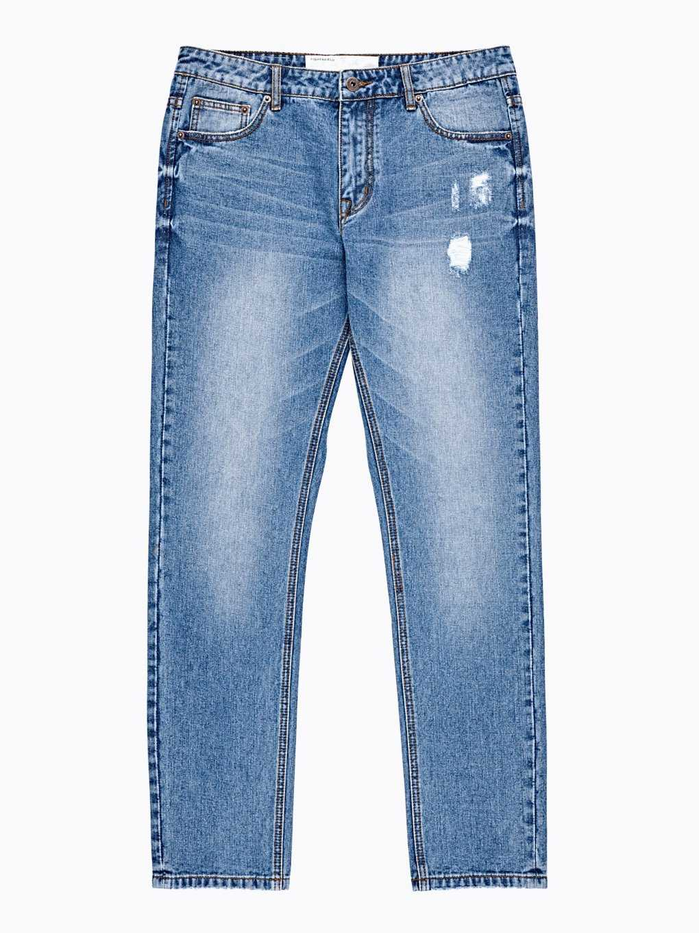 TAPERED FIT JEANS IN LIGHT BLUE WASH
