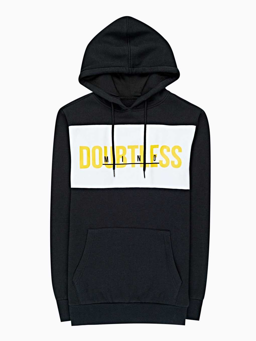 Paneled hoodie with message print