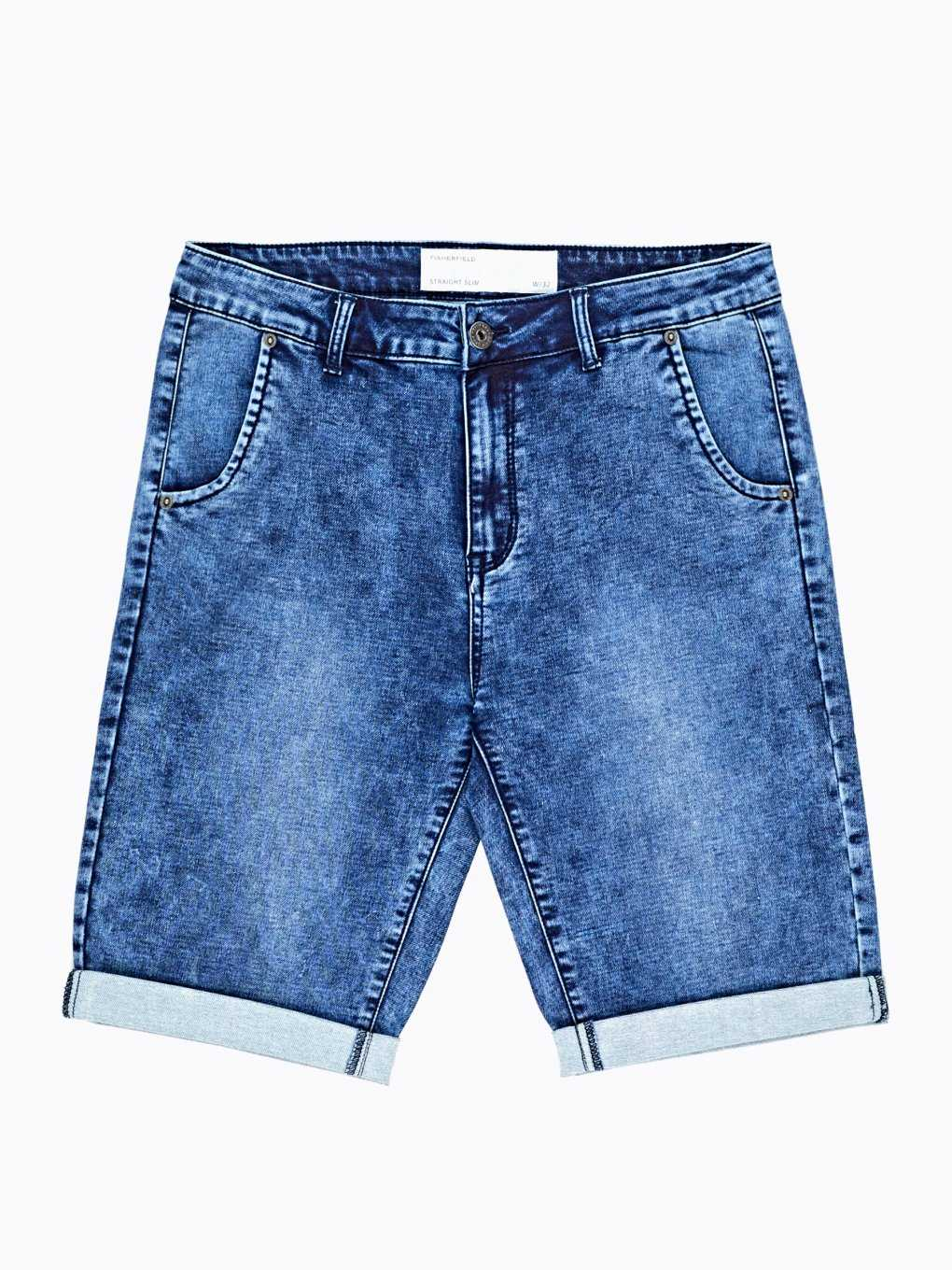 Knit denim shorts