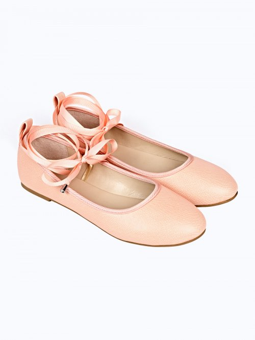BASIC FAUX SUEDE LACE UP BALLERINAS