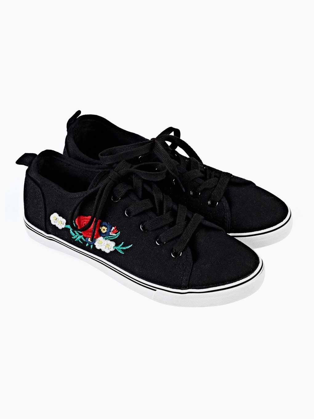 EMBROIDERED LACE UP CANVAS SNEAKERS