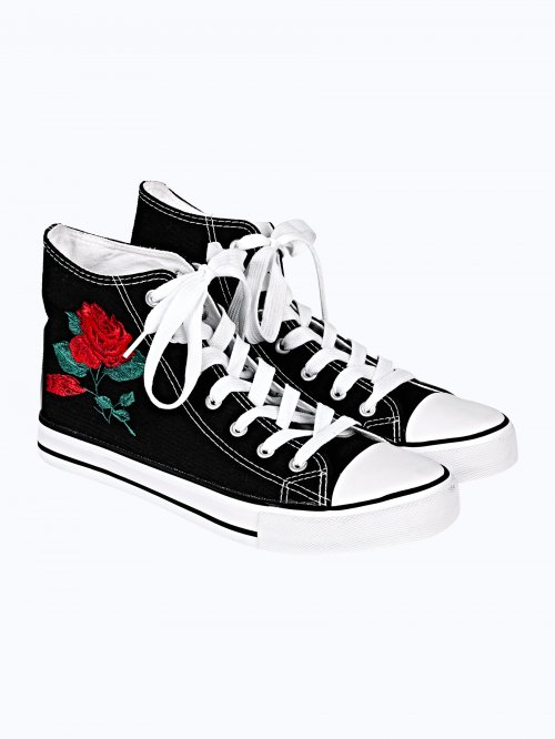 HIGH-TOP CANVAS SNEAKERS WITH EMBROIDERY