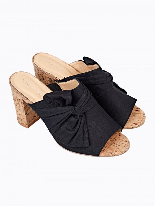 BLOCK HEELED BOW SLIDES