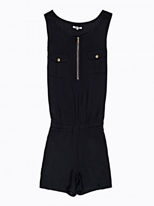 SHORT SLEEVELESS JUMPSUIT WITH FRONT ZIPPER
