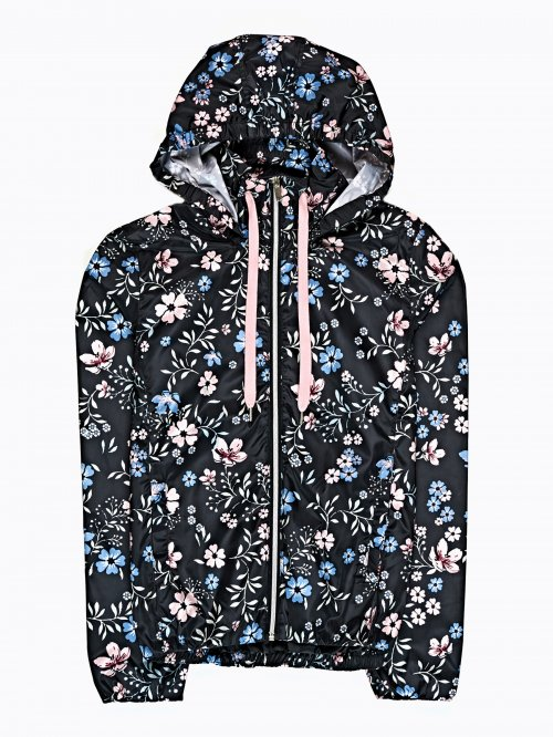 Floral print hooded jacket