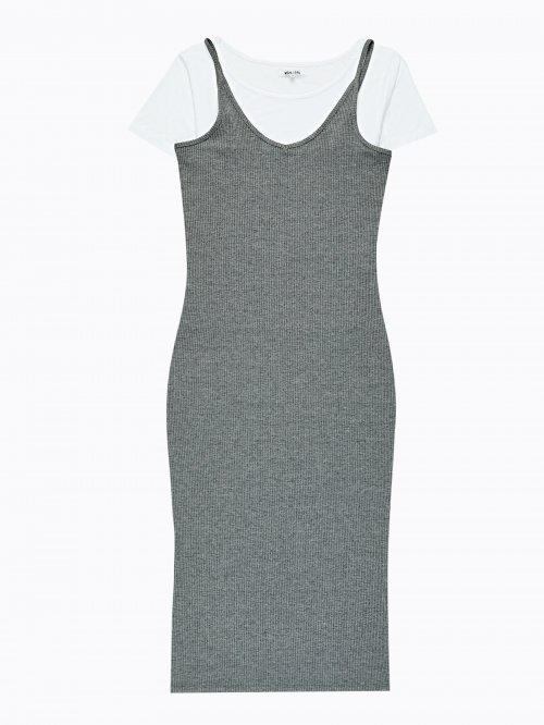 Ribbed strappy dress with t-shirt