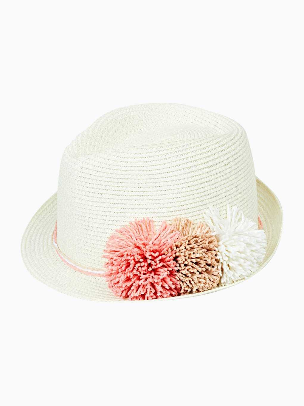 Fedora hat with pom poms