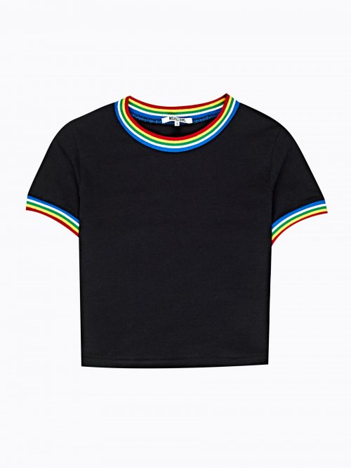 Crop top with striped trims