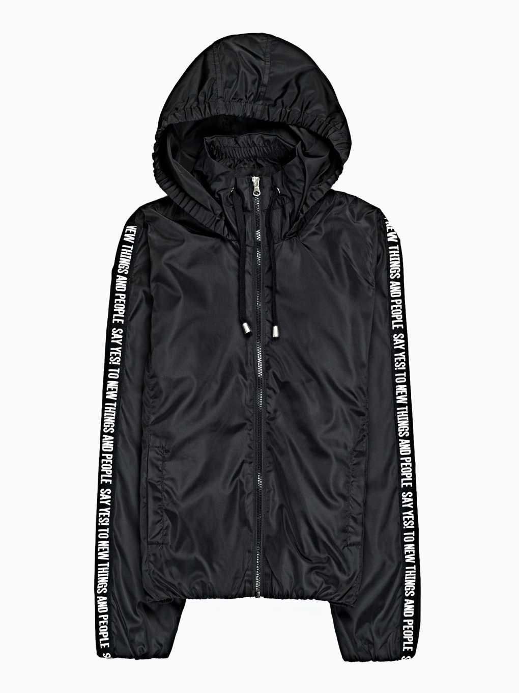 Taped hooded jacket