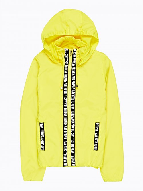 Hooded jacket with tape