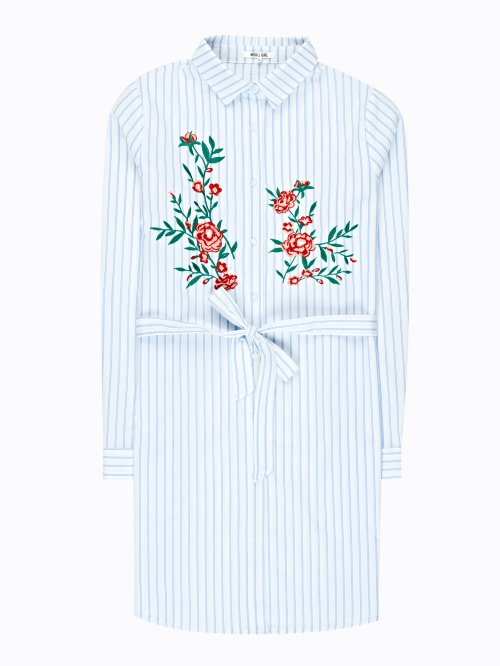 Longline striped shirt with embroidery