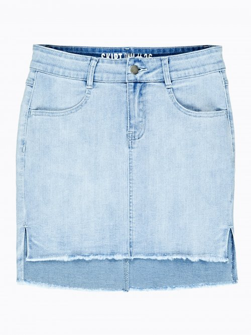 Denim skirt with raw edge