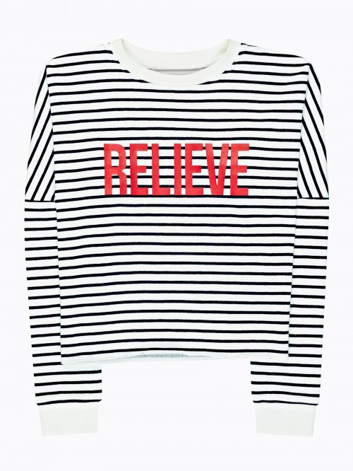 Striped sweatshirt with message print