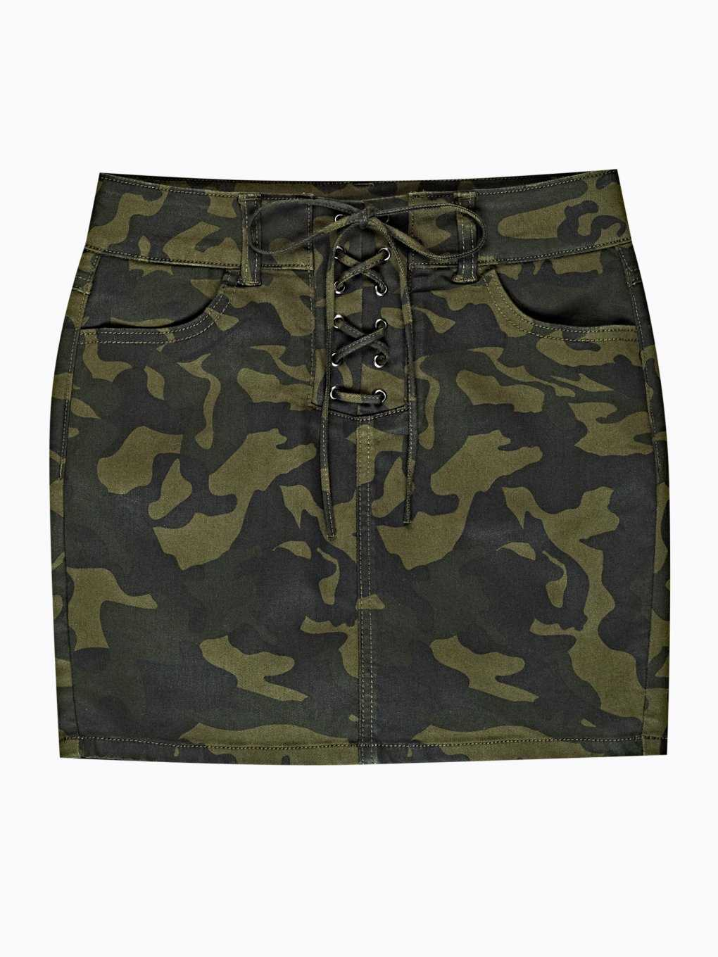 Camo print lace-up mini skirt