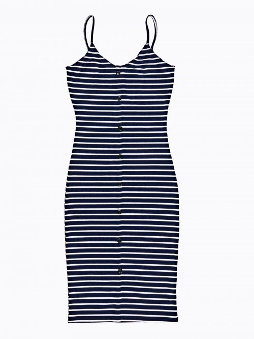 Strappy striped dress with buttons