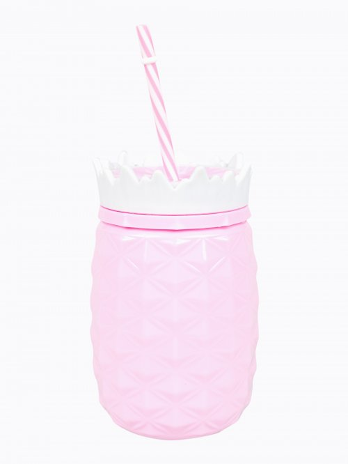 Plastic summer cup with straw