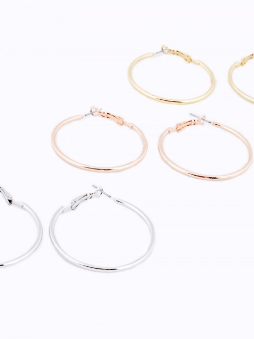 3-pack hoop earrings set