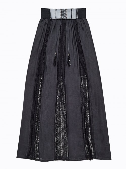 Maxi skirt with decorative belt