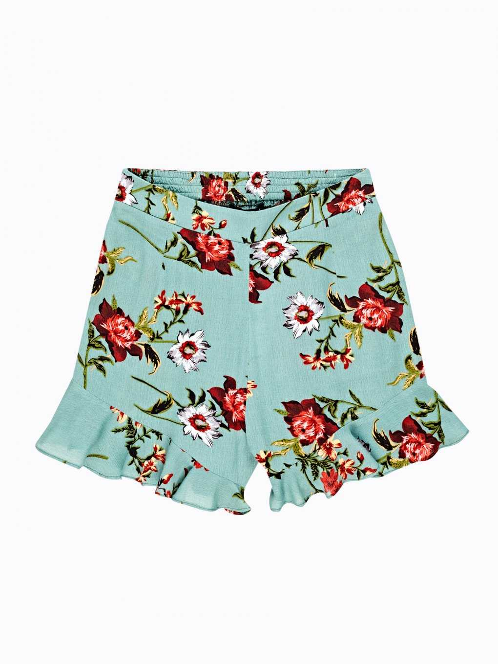 Floral print shorts with ruffle