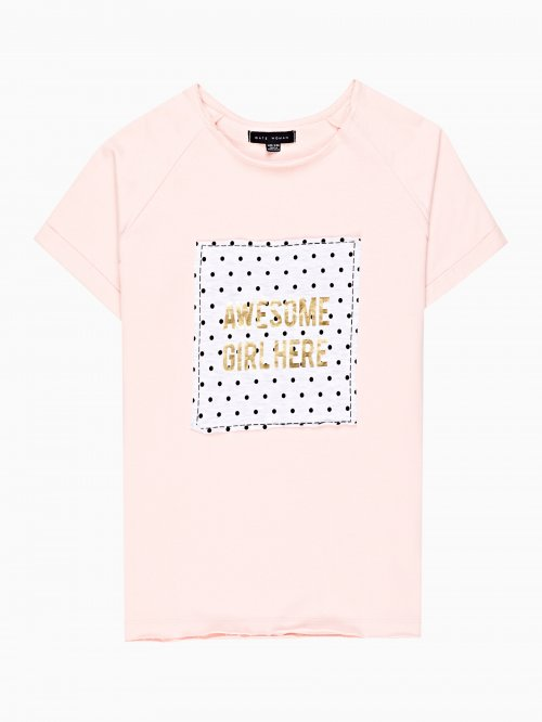 T-shirt with metallic message print