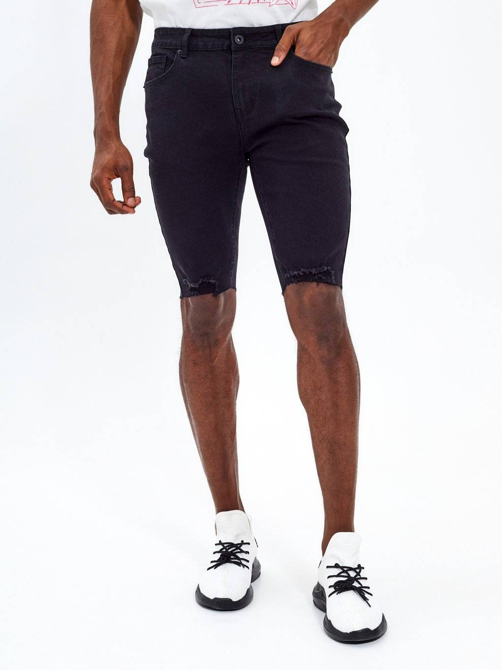 Slim fit raw edges denim shorts