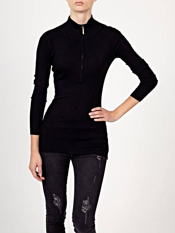 Rib-knit jumper with front zipper