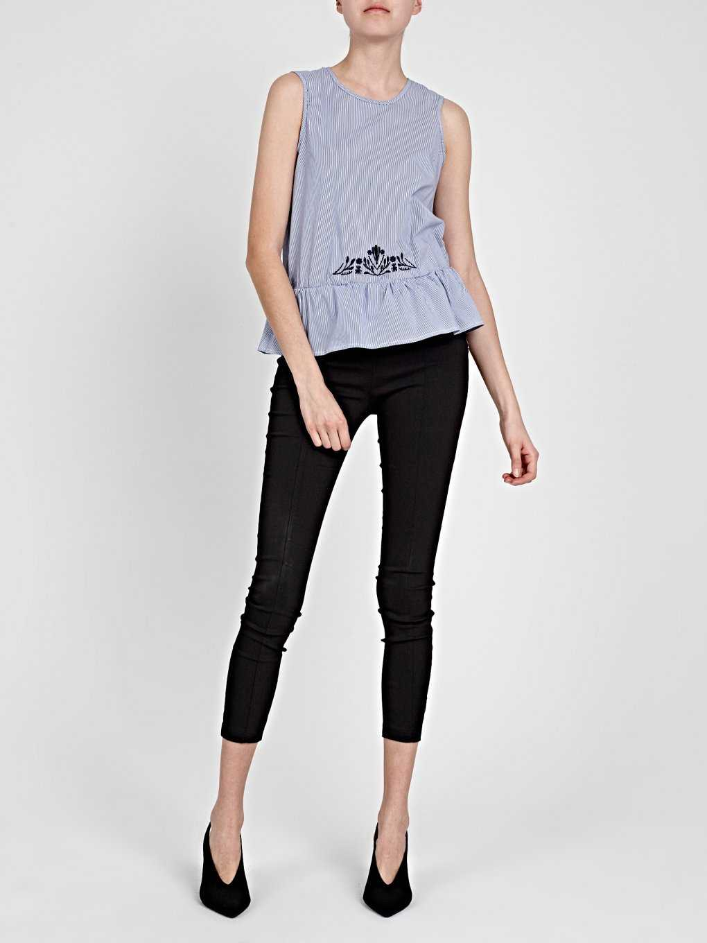 STRIPED PEPLUM TOP WITH EMBROIDERY DETAIL
