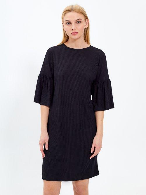 Žebrované šaty s volánem na rukávu ff4a9db0f0d