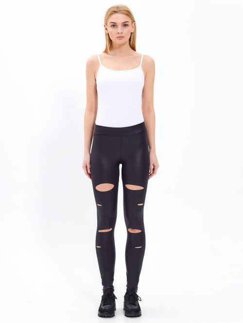 SHINY DISTRESSED LEGGINGS