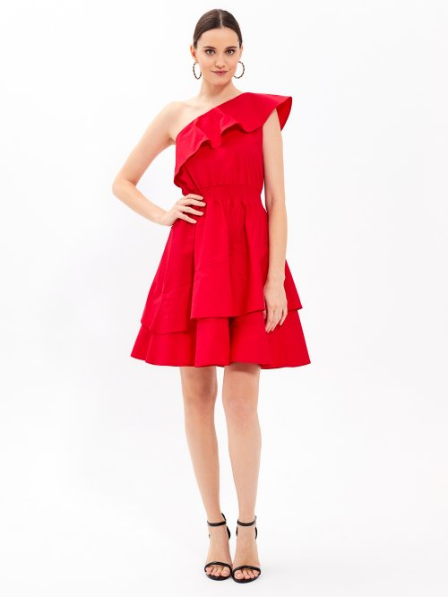 One-shouldler dress with ruffle
