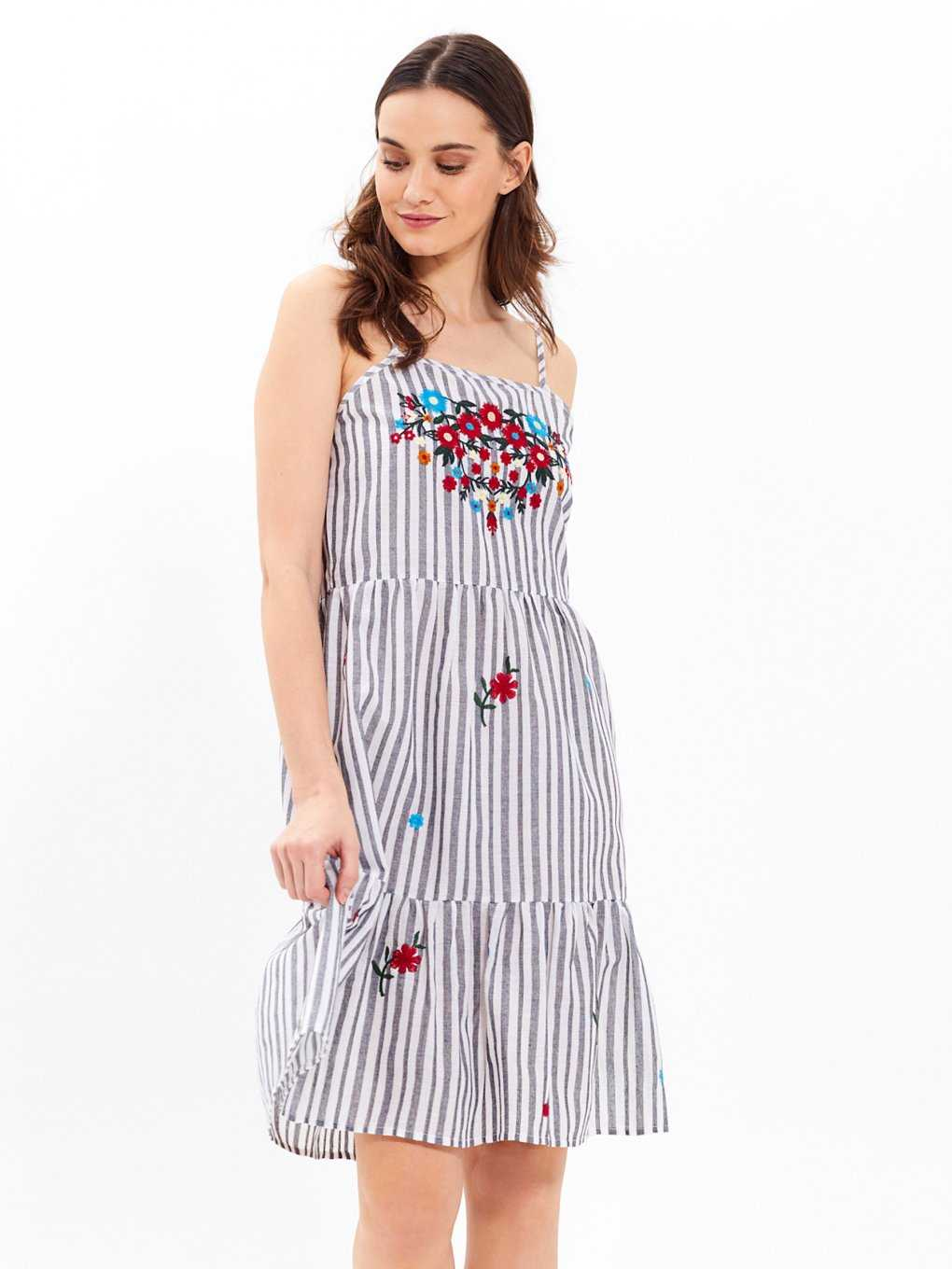 Cotton striped strappy dress with embroidery