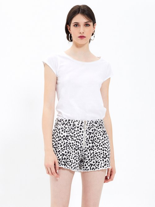 ANIMAL PRINT DENIM SHORTS