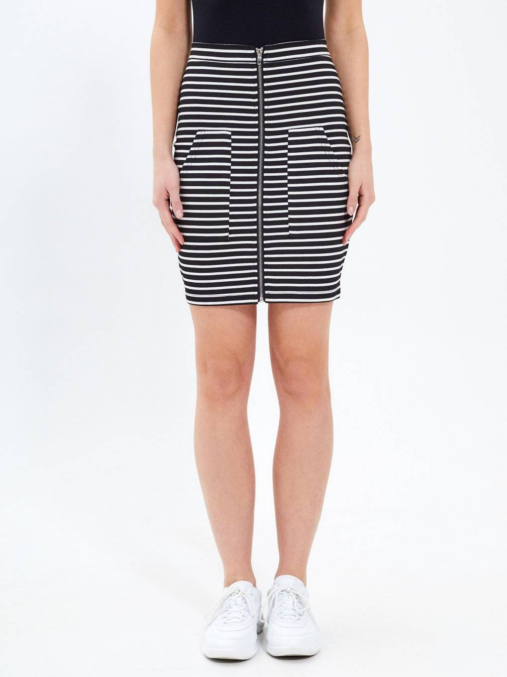 Striped zip-up skirt