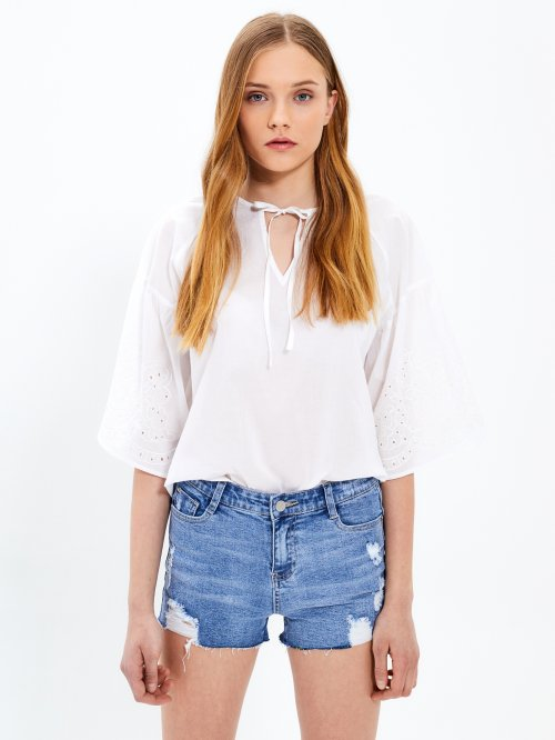 Angel sleeve cotton blouse