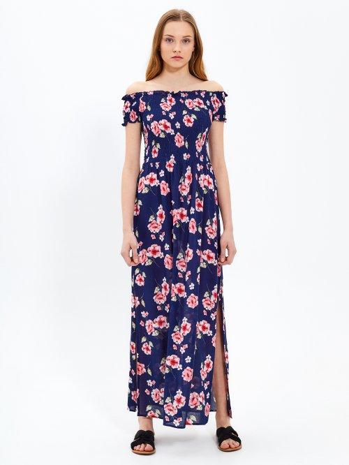 aa8a27634d52 Dlhé šaty s kvetinovou potlačou