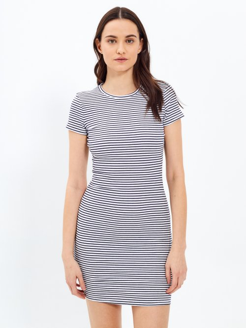 Striped bodycon ribbed dress