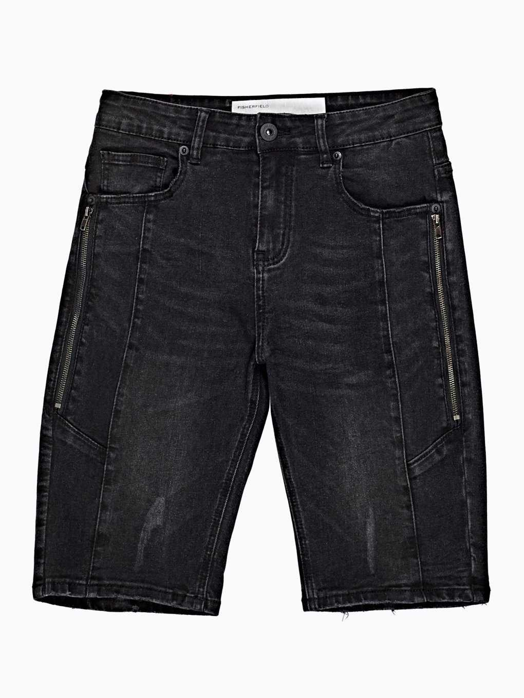 DENIM SLIM FIT SHORTS WITH ZIPPERS