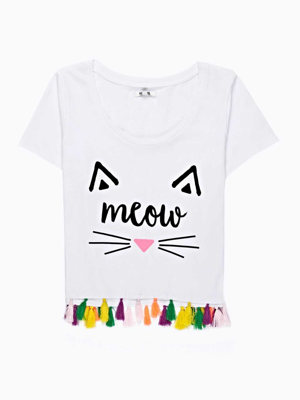 T-SHIRT WITH COLOURFUL TASSELS