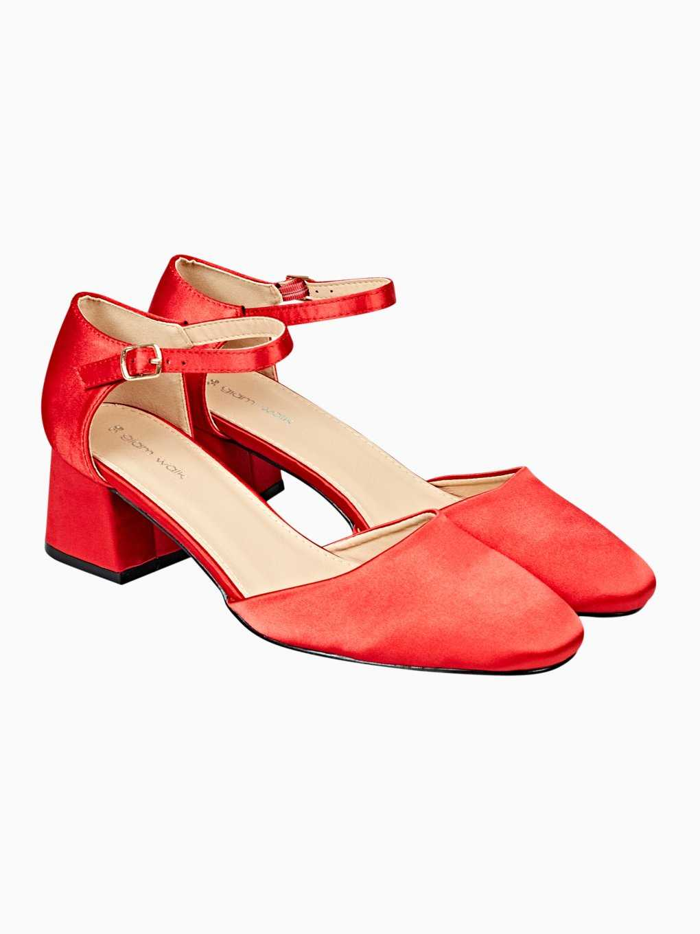 Satin block heeled shoes