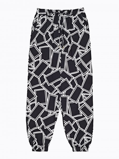 Printed jogger fit trousers