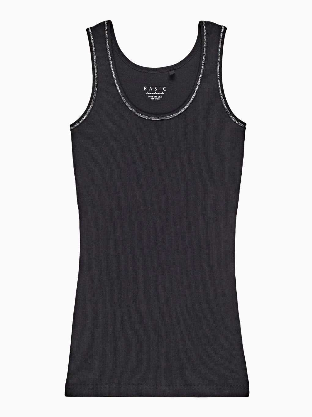 Basic ribbed tank with metallic thread