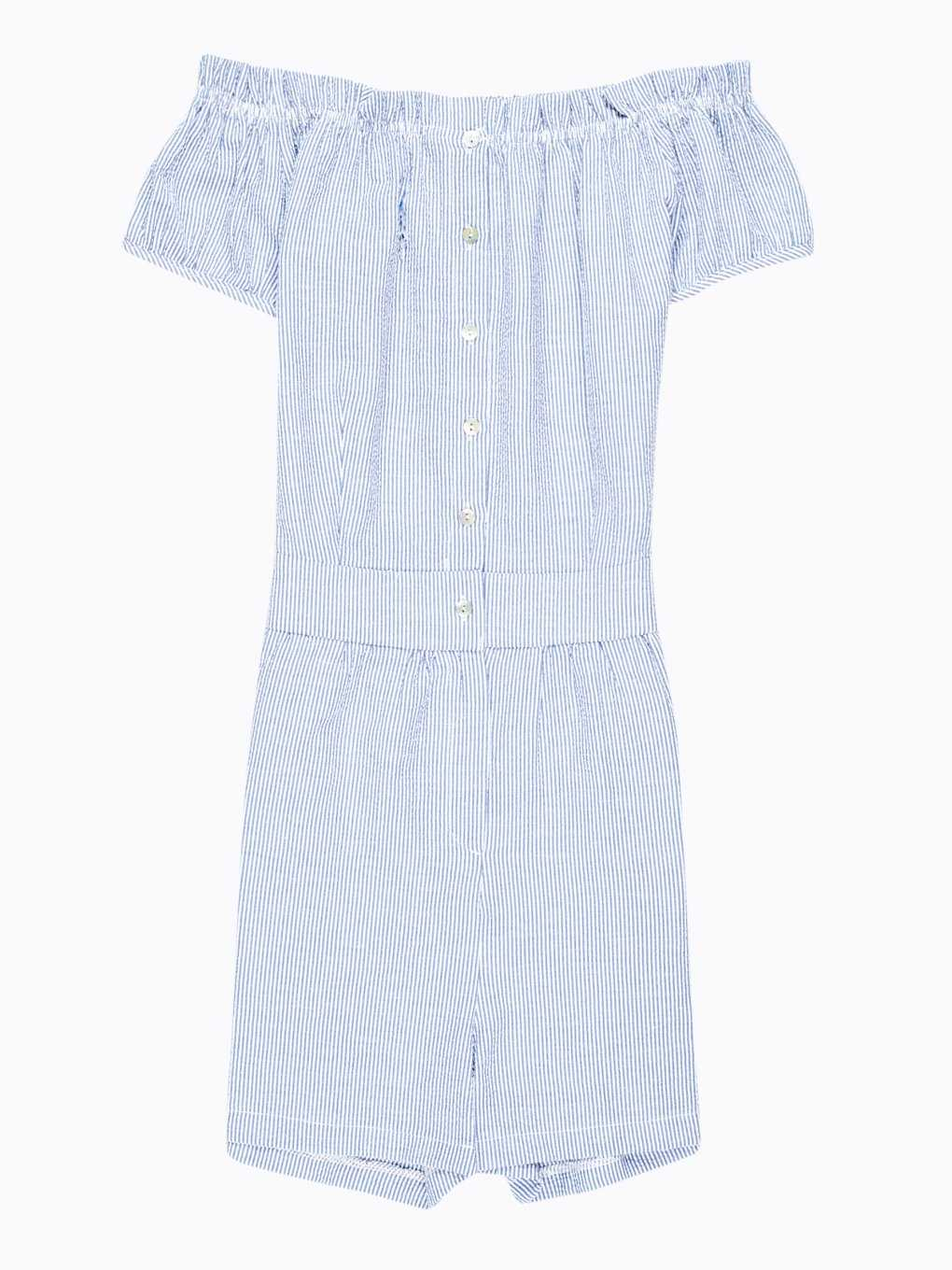 Off-the-shoulder button-up short jumpsuit