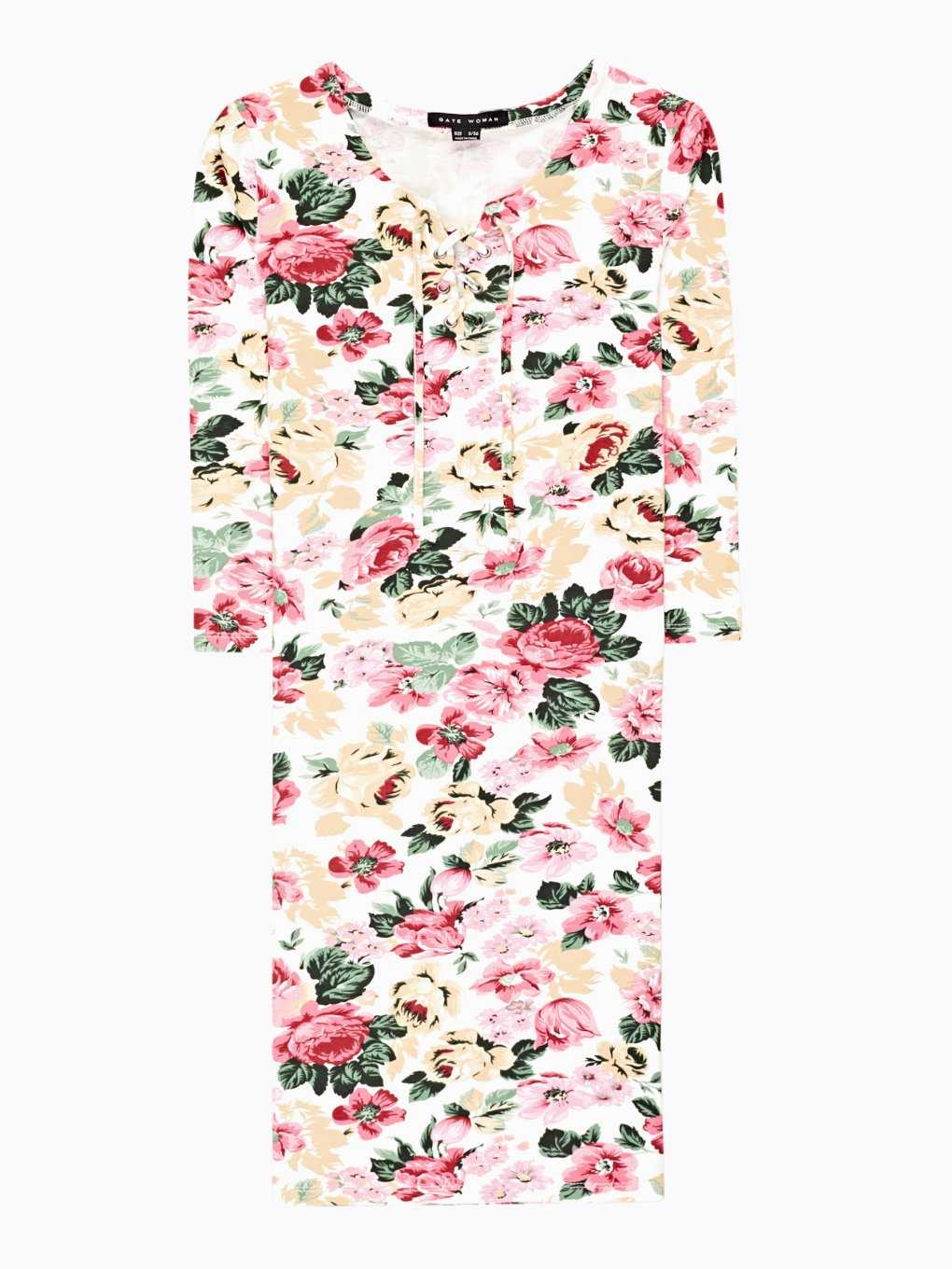 Floral print dress with front lacing